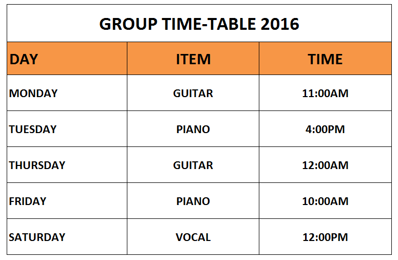 GROUP TIME TABLE 2016